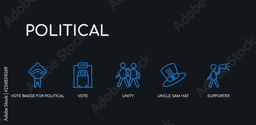 5 outline stroke blue supporter, uncle sam hat, unity, vote
