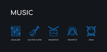 5 Outline Stroke Blue Drum, Drumstick, Drumsticks, Electric Guitar, Equalizer Icons From Music Collection On Black Background. Line Editable Linear Thin Icons.