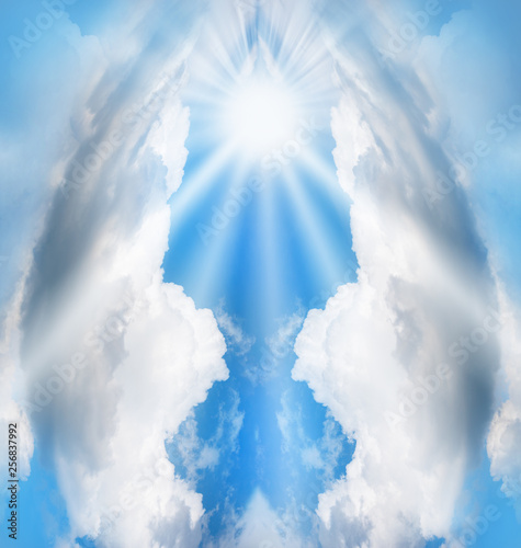 Photo Fantasy imagination, abstract angel shape made by clouds on blue sky
