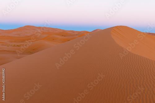 Foto op Aluminium Koraal Amazing view of the great sand dunes in the Sahara Desert, Erg Chebbi, Merzouga, Morocco.