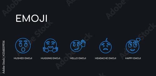 5 outline stroke blue happy emoji, headache emoji, hello