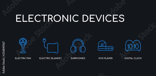 5 outline stroke blue digital clock, dvd player, earphones