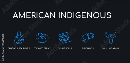 Photo  5 outline stroke blue skull of a bull, sleigh bell, spring rolls, steamed bread, surfing a sea turtle icons from american indigenous collection on black background