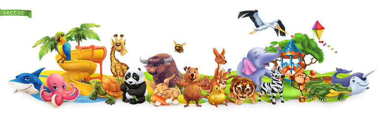 Funny animals. 3d vector pa...