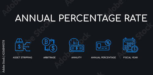 Photo 5 outline stroke blue fiscal year, annual percentage rate (apr), annuity, arbitrage, asset stripping icons from annual percentage rate collection on black background
