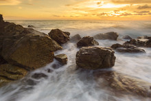Beautiful Natural Seascape Wave Hit The Rock During Sunset