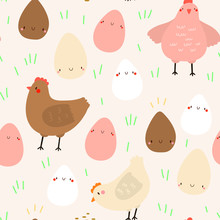 Seamless Vector Pattern With Hand Drawn Chickens And Eggs. Cute Farm And Easter Background.