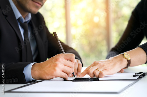 Agreement signed between two businessmen to agree on return on investment Canvas Print
