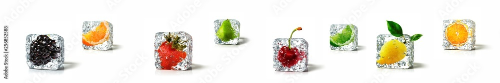 Fototapety, obrazy: Fruits in ice cubes isolated in white background