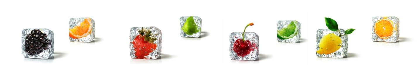 Panel Szklany Podświetlane Do kuchni Fruits in ice cubes isolated in white background