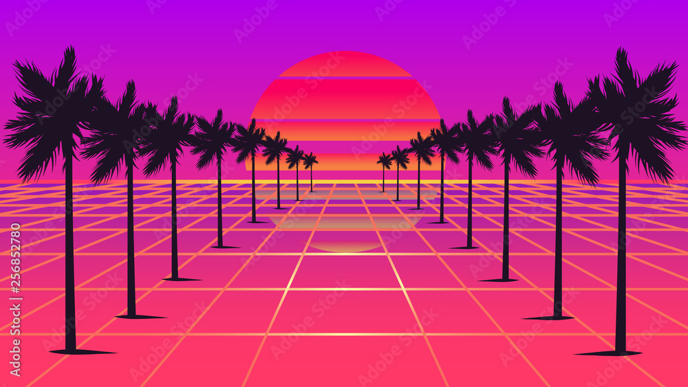 Fotografia  Retrowave sun and palm trees 1980s style