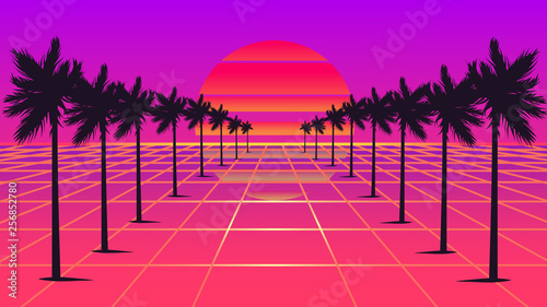 Tela  Retrowave sun and palm trees 1980s style