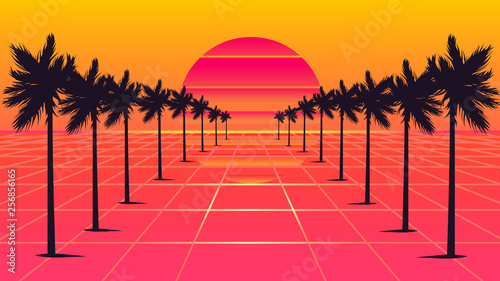 Fotografia  palm trees 1980s style