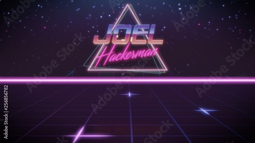 Photo  first name Joel in synthwave style