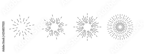 Sunburst icon. Burst vector. Sunburst set. Linear style. - vector illustration - 256857920