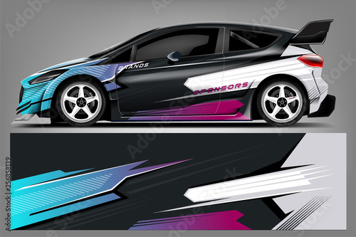 Obraz Car decal wrap design vector. Graphic abstract stripe racing background kit designs for vehicle, race car, rally, adventure and livery - Vector - fototapety do salonu