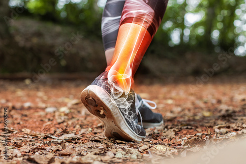 Photo Ankle pain in detail - Sports injuries concept.