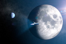 Spaceship Concept Flying Around The Moon- Futuristic Space Travel - 3D Rendering - Elements Of This Image Furnished By NASA