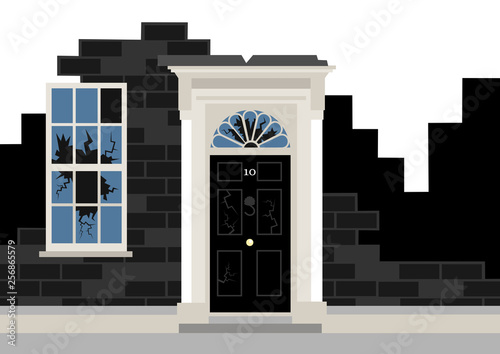 10 downing street as ruin - metaphor of political collapse,decay and trouble of British government and Prime minister Wallpaper Mural