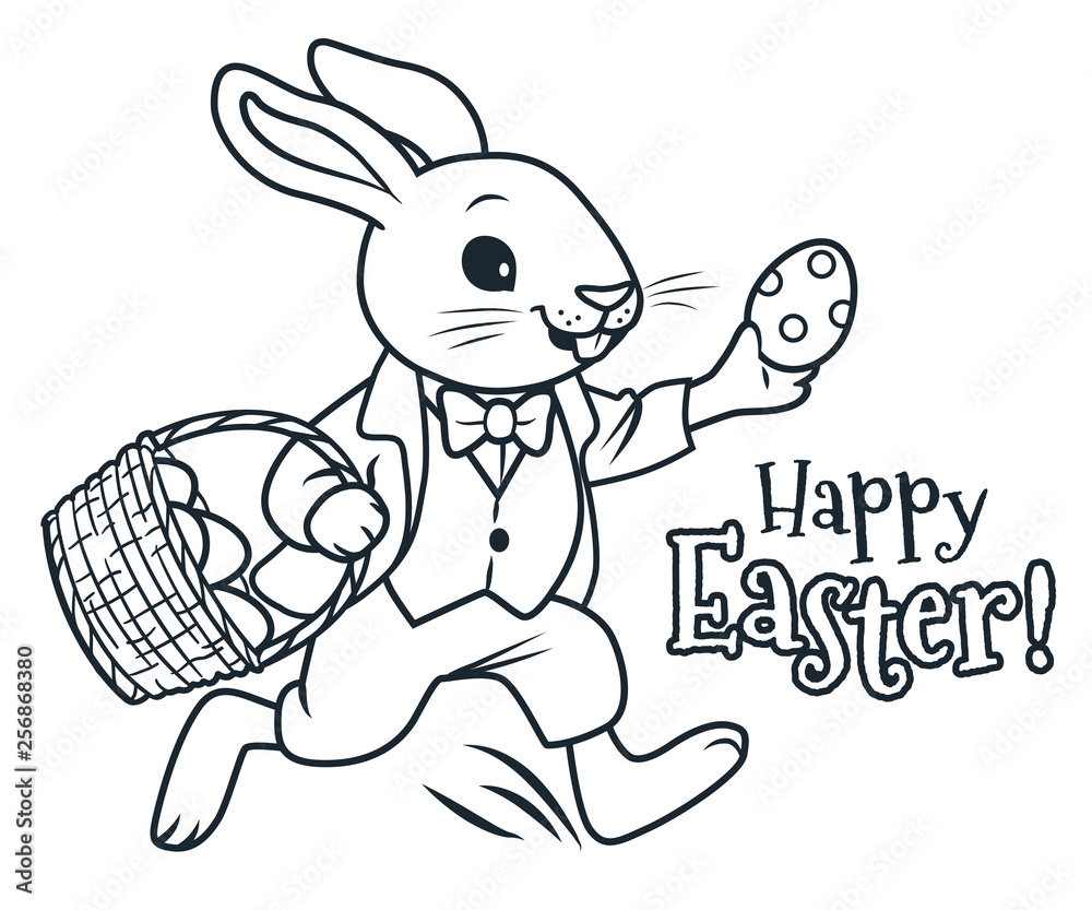 Easter bunny running with basket full of chocolate eggs coloring page vector cartoon illustration. Spring, Easter, egg hunt, children's party activity theme simple design element isolated on white.