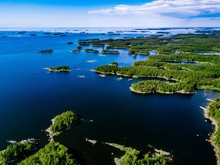 Aerial View Of Blue Lakes And ...