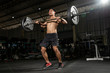 Handsome strong athletic men pumping up muscles workout barbell curl bodybuilding concept background - muscular bodybuilder men doing exercises in gym naked torso - Image