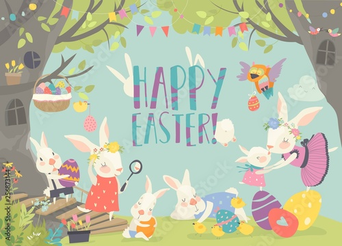 Happy bunnies celebrating Easter in the forest