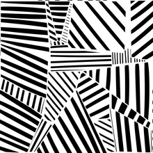 Various Lines And Shapes. Black And White Abstract Seamless Pattern. Hand Drawn Vector Illustration