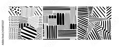 Various lines and shapes. Set of three black and white abstract seamless patterns. Hand drawn vector illustration. Every pattern is isolated