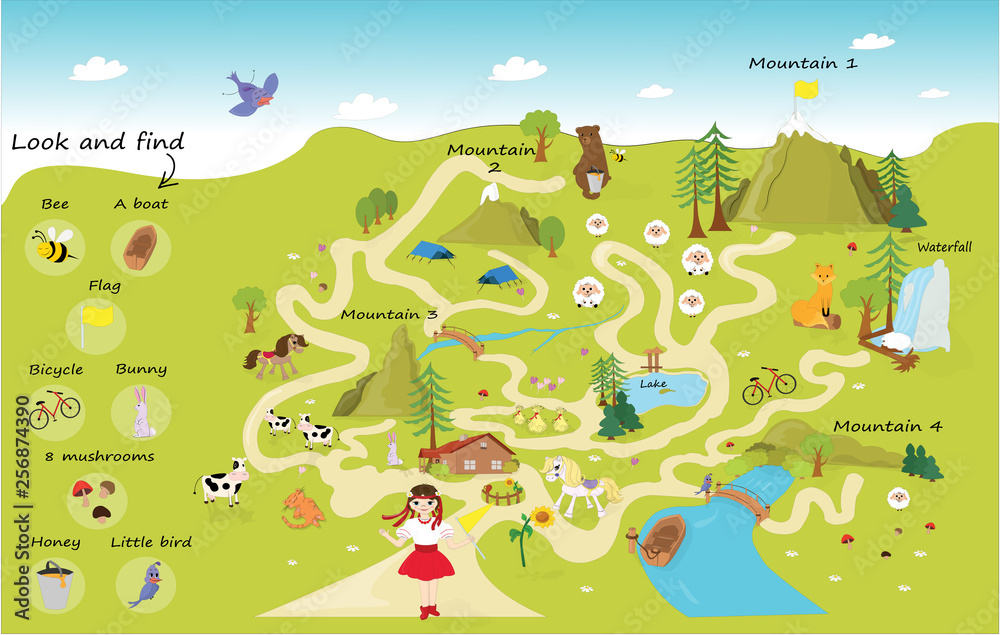 Fototapeta Funny maze for children. Help the girl on a trip to the mountains. Mini games collection. the maze puzzle game template illustration. Illustration of a maze puzzle with forest and mountains background