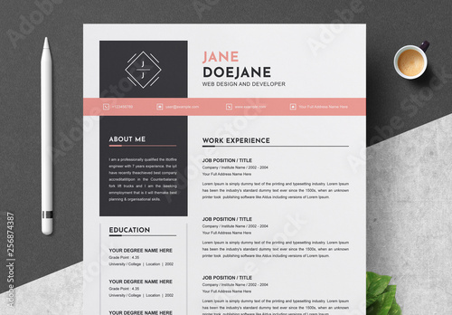 resume and cover letter layout with coral accents  buy