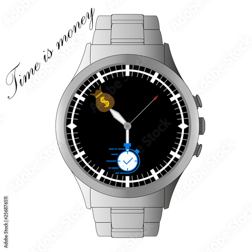 Photo  Hand watch with arrows -silver wrist watch - time is money - bag of money - Vect
