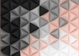 3d render triangle background in pastel gradient colors. Paper pyramid shapes in realistic composition. Geometric abstract illustration. - 256879565