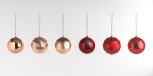 3d Render Illustration Of Christmas Round Balls On White Background. Set Of Glass Baubles Hanging On Rope. Glossy Realistic Elements For Promo, Party, Event Design. Sparkle Gold And Dark Red Toys.