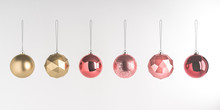 3d Render Illustration Of Christmas Round Balls On White Background. Set Of Glass Baubles Hanging On Rope. Glossy Realistic Elements For Promo, Party, Event Design. Sparkle Gold And Pink Toys.
