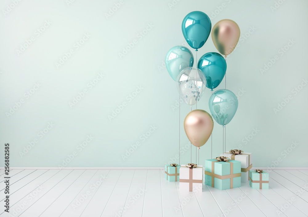 Fototapety, obrazy: 3D interior render with blue and golden balloons, gift boxes. Pastel glossy composition with empty space for birthday, party or other promotion social media banners, text. Poster size illustration.