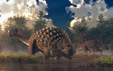 A Pair Of Ankylosaurs Graze In A Watery Lowland.  One Of The Two Faces The Viewer.  These Cretaceous Era Armored Dinosaurs Are One Of The Best Known Of The Prehistoric Reptiles. 3D Rendering