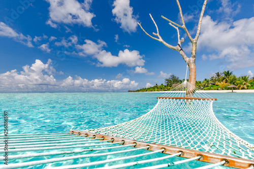 Photo  Romantic cozy hammock in Maldives islands landscape, perfect tropical beach by the sea