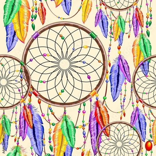 Spoed Foto op Canvas Draw Dreamcatcher Rainbow Feathers Native Charm Item Vector Seamless Pattern