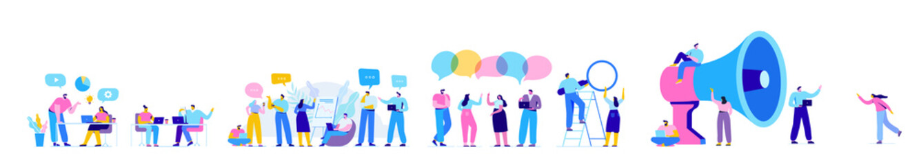 Creative team characters flat vector horizontal banner. Discussion people. Office workers life. Team thinking and brainstorming.  Flat vector illustration