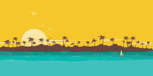 Tropical Island Paradise. Seascape Background With Palms Silhouette And Sky