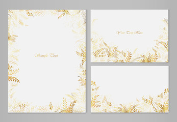 Set of vector teeter with golden leaves and sprigs with place for text on black background