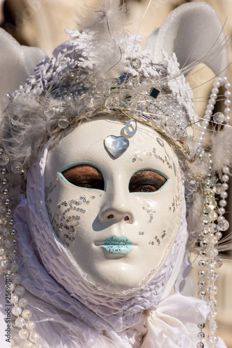 Fototapety, obrazy: Italy, Venice,  carnival,  2019,  people with beautiful masks walk around Piazza San Marco, in the streets and canals of the city, posing for photographers and tourists, with colorful clothes.