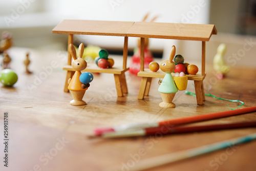 wooden easter decorations with bunny family
