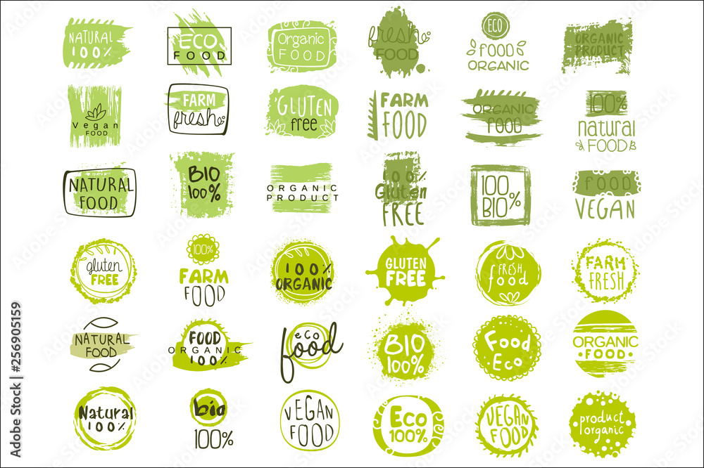 Fototapety, obrazy: Vector set of bright green stickers with text for packing natural products. Vegan eating. Organic and healthy food signs. Typography design elements