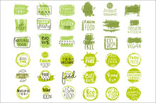 Vector Set Of Bright Green Stickers With Text For Packing Natural Products. Vegan Eating. Organic And Healthy Food Signs. Typography Design Elements