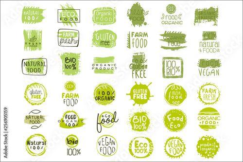 Fotografie, Obraz  Vector set of bright green stickers with text for packing natural products