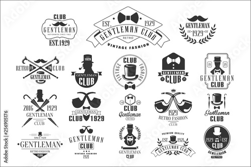 Fototapeta Monochrome vector set of stylish emblems for gentleman club
