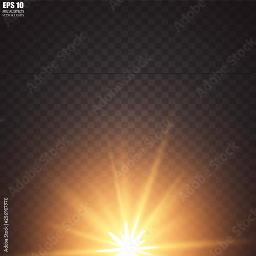 Fototapeta Vector illustration of abstract flare light rays. A set of stars, light and radiance, rays and brightness. Glow light effect. Vector illustration. Christmas flash Concept. obraz na płótnie