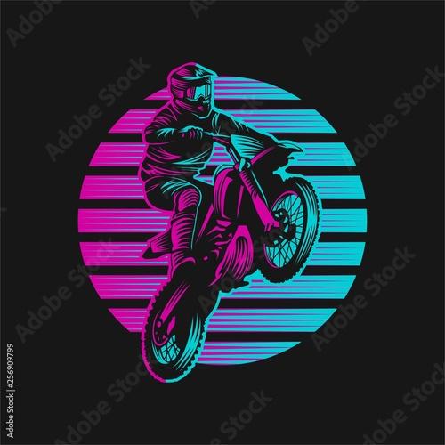 Платно Motocross Sunset Retro Vector illustration